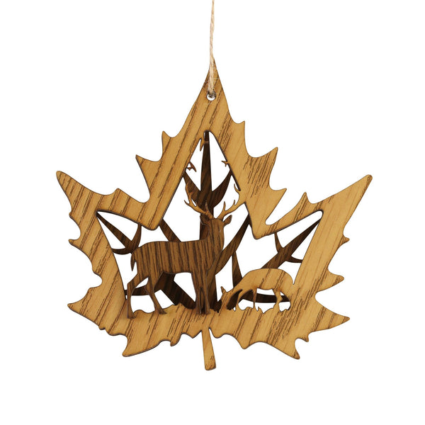 Maple Leaf Deer Ornament