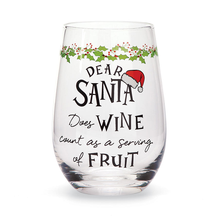 Dear Santa Fruit Wine Glass