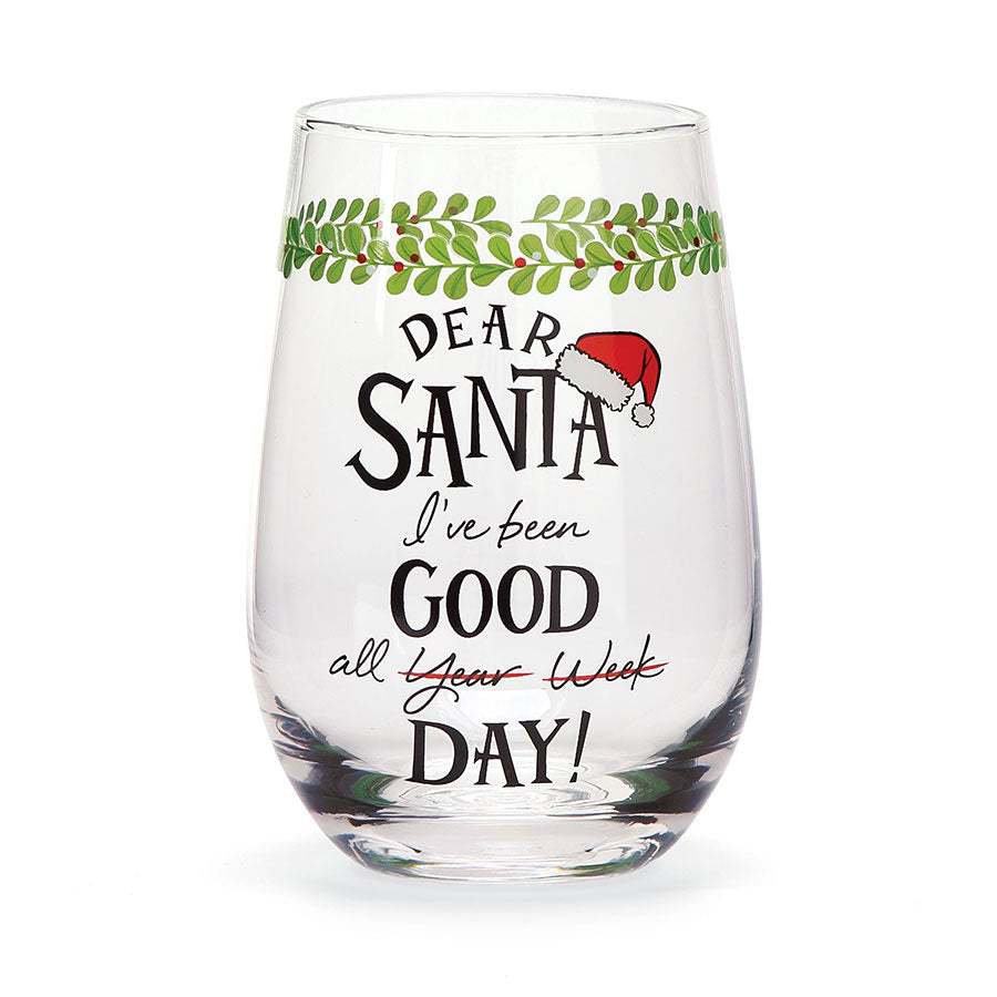 Dear Santa Good Wine Glass