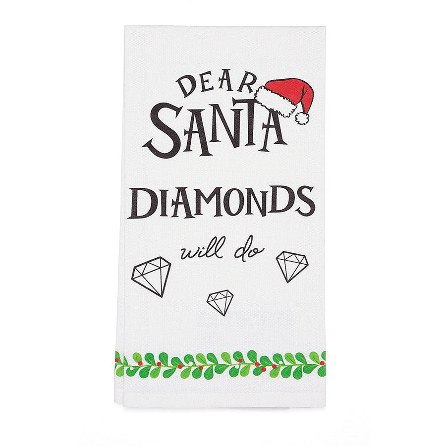 Dear Santa Diamonds Bar Towel