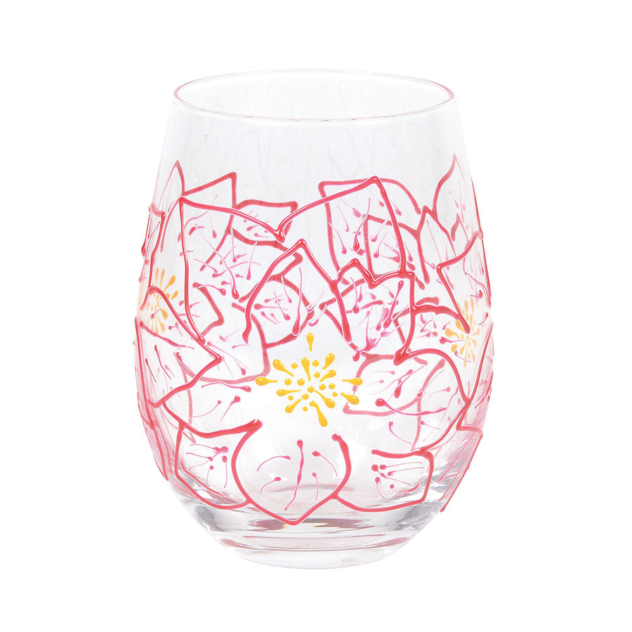 Poinsettias Stemless Glass