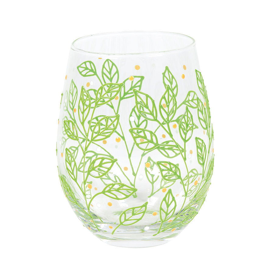 Spring Leaves Stemless Glass