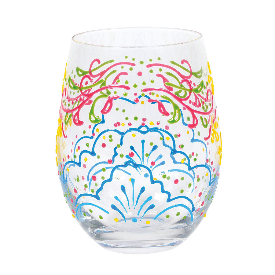Rose Henna Stemless Glass