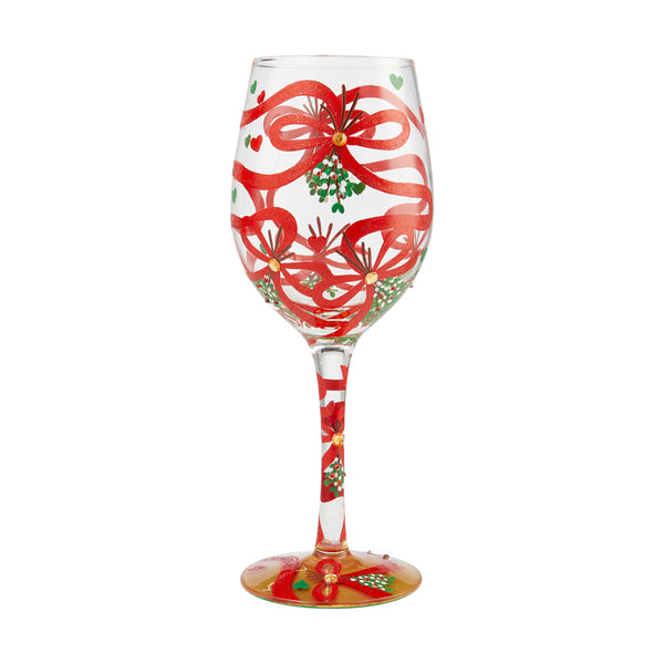 Wine Glass Meet Me Mistletoe