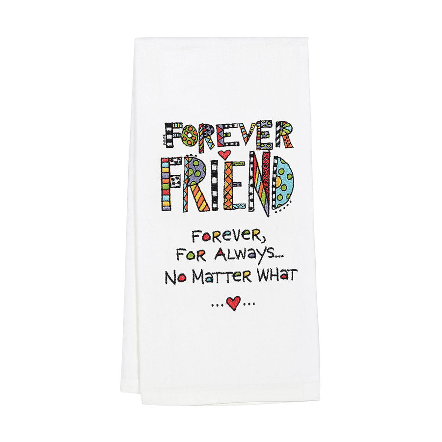Embroidered  Friends Tea Towel