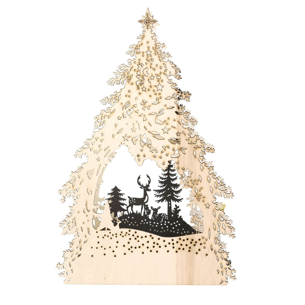 Lit Tree with Deer Decor
