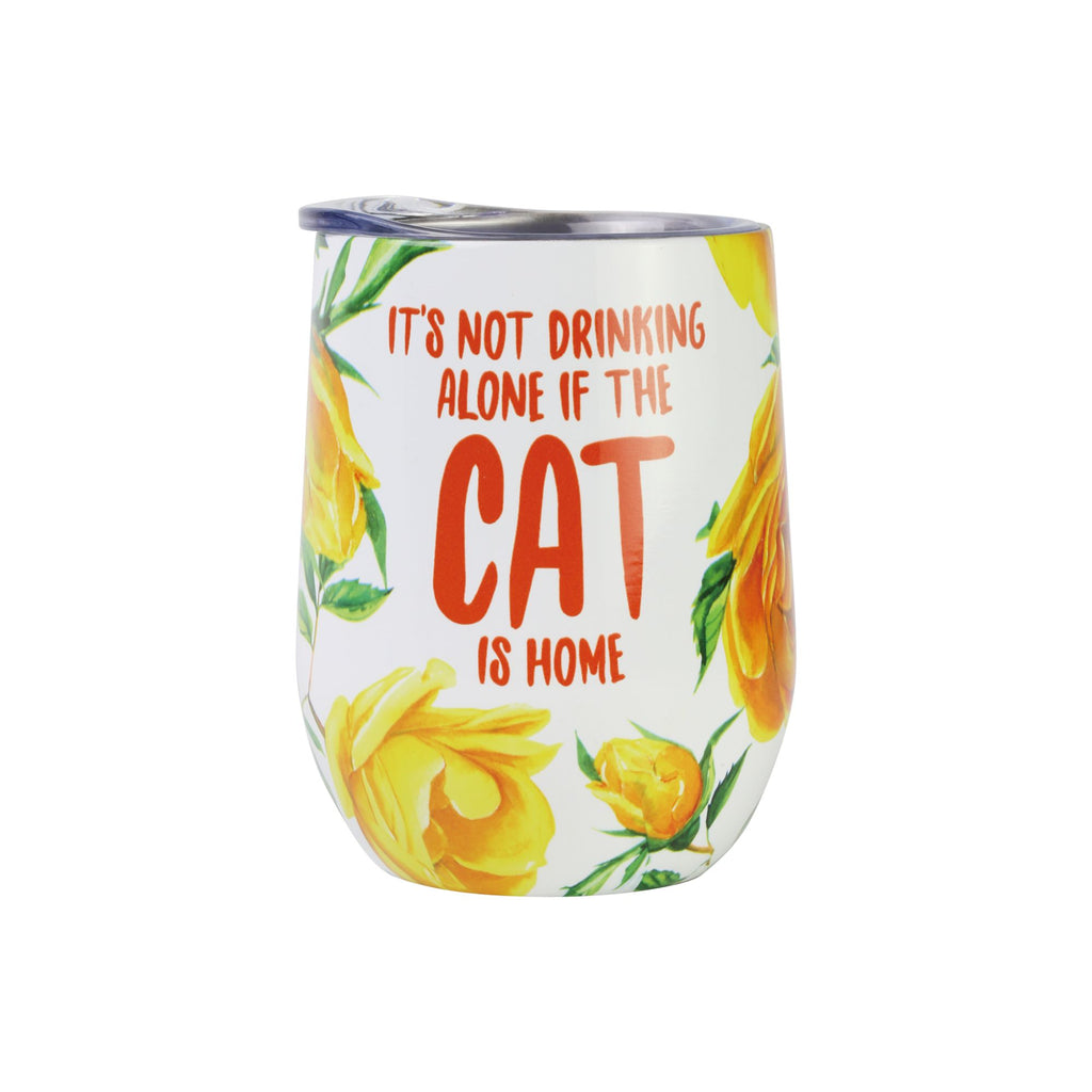 Cat Drink Alone Floral Tumbl