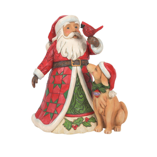 Santa with Cardinal and Dog