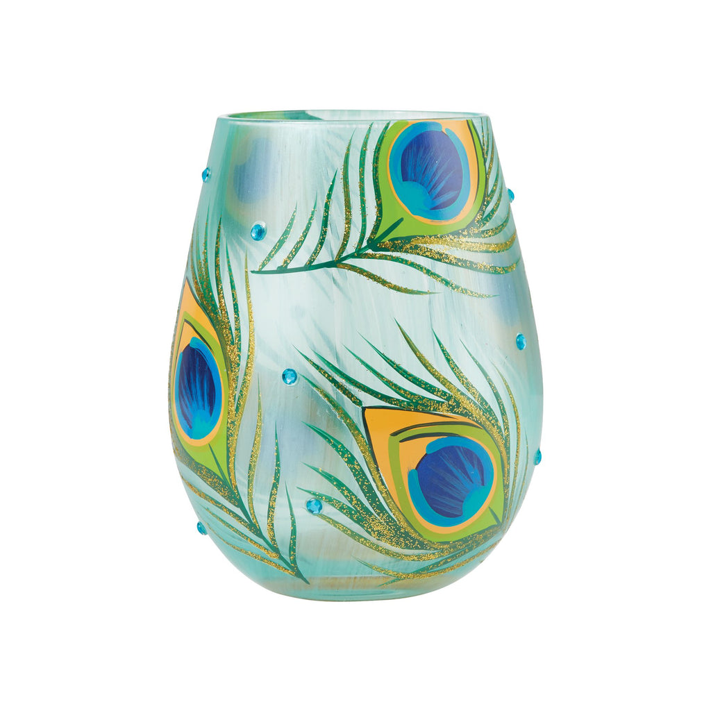 Peacock Stemless Wine Glass