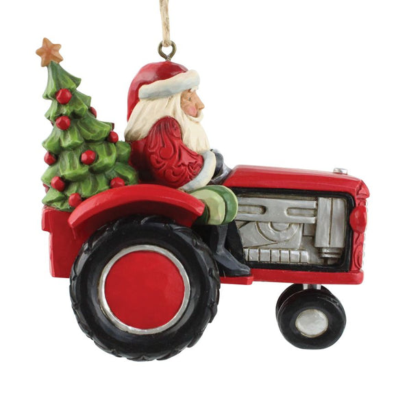 Santa Driving Tractor Ornament