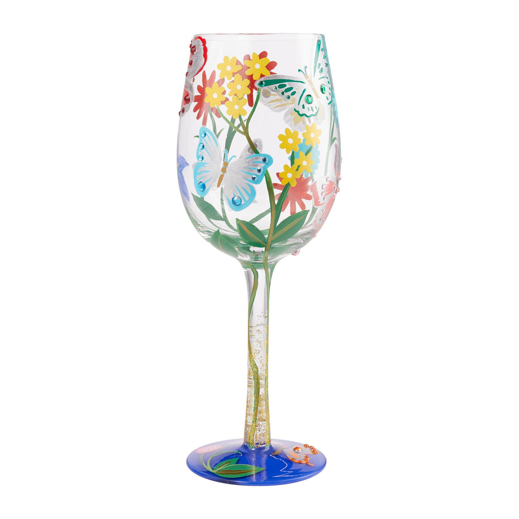Wine Glass Bejeweled Butterfly