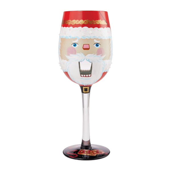 Nuts About Santa Wine Glass