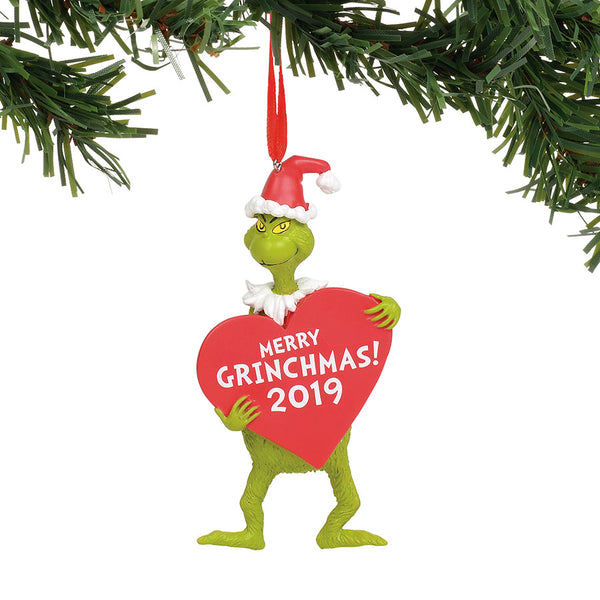 Grinch with Heart Dated Orn.