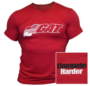 Compete Harder V-Neck T-Shirt Red - GAT SPORT