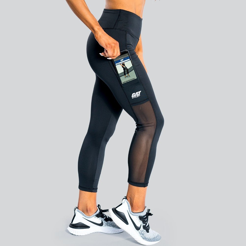 Ladies High-Waist Vertical Legging - Black - GAT SPORT