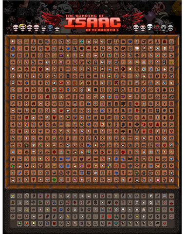 The Binding of Isaac Afterbirth+ Items and Trinkets Poster