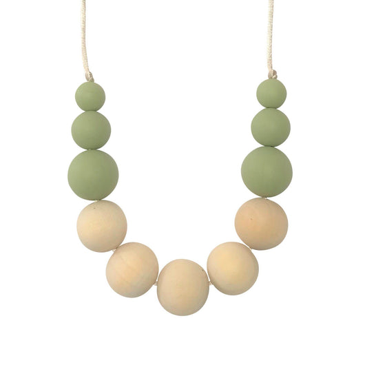 Teething Necklace with pistachio coloured silicone beads and natural wooden beads Boo Chew