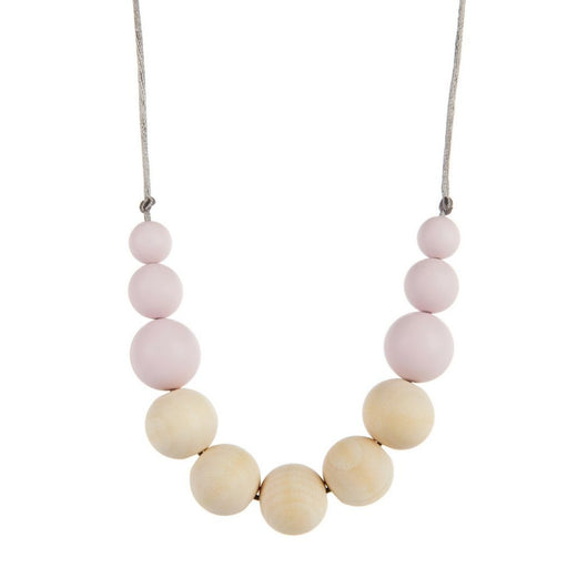 wood & silicone nursing necklace pink