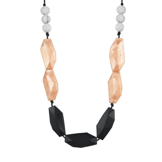 rose gold and black teething necklace