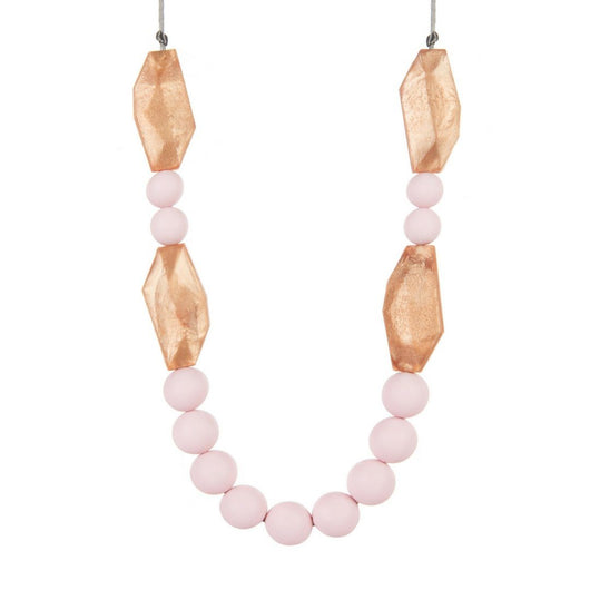 Anna teething necklace in rose gold and pink boo chew