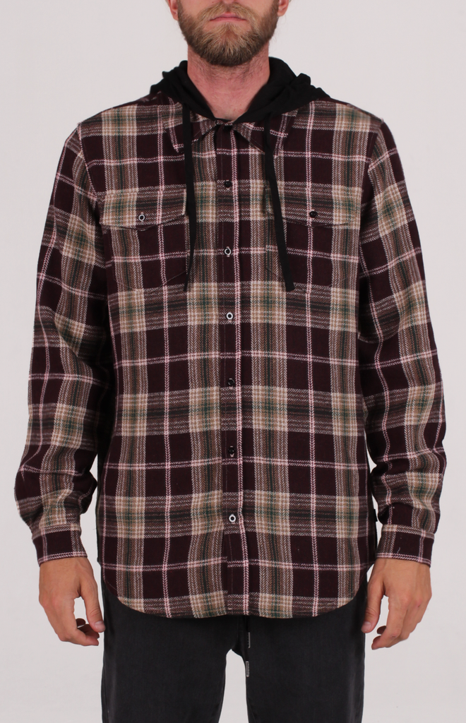 MELLEN HOODED FLANNEL BURGUNDY