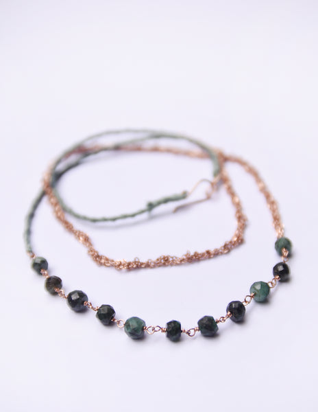 Long emerald, woven silk and crochet chain necklace