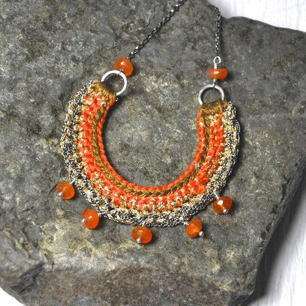 Carnelian Crochet Necklace by Izabela Motyl