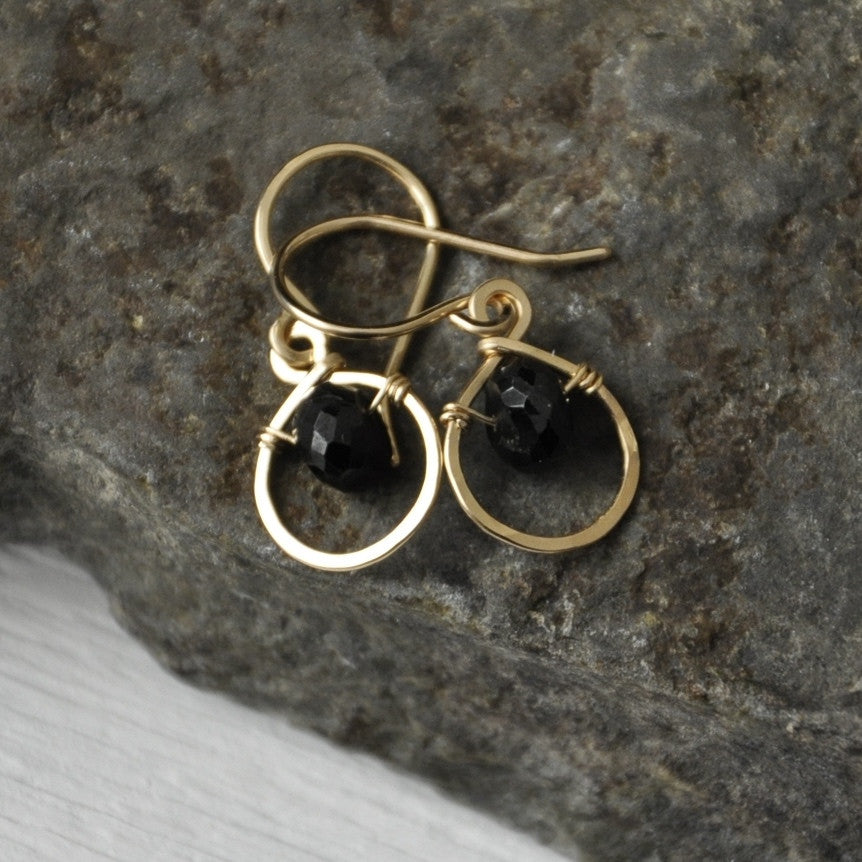 Dew Drop Earrings with Black Spinnel by Izabela Motyl