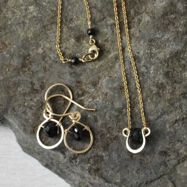 Horse Shoe Black Spinnel Necklace by Izabela Motyl