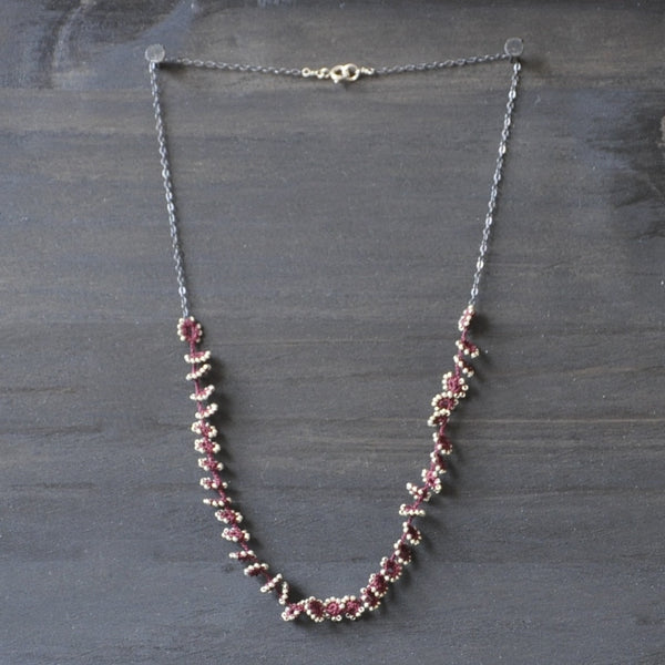 Flower Falls Maroon Necklace by Izabela Motyl