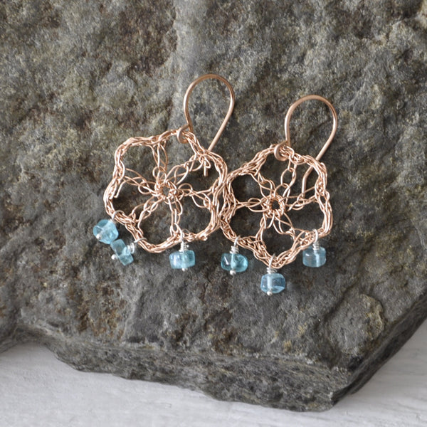 Crochet Flower with Dangly Apatite Earrings by Izabela Motyl