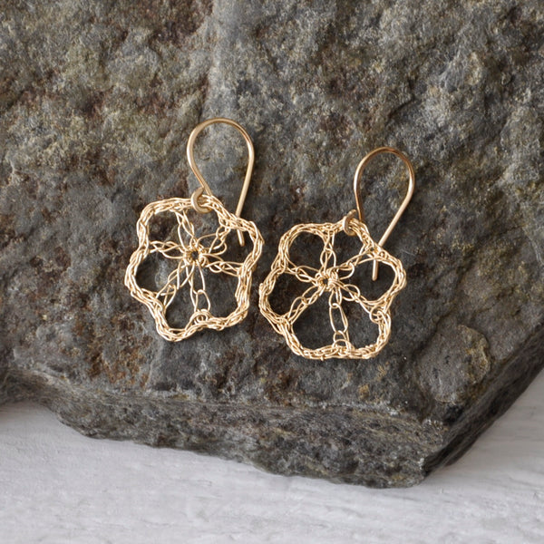 delicate crochet flower earrings