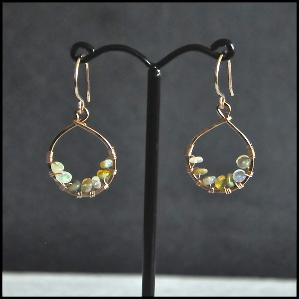 rose gold filled opal earrings