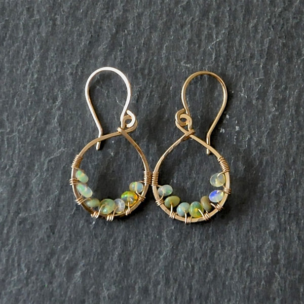 wire wrapped opal earrings