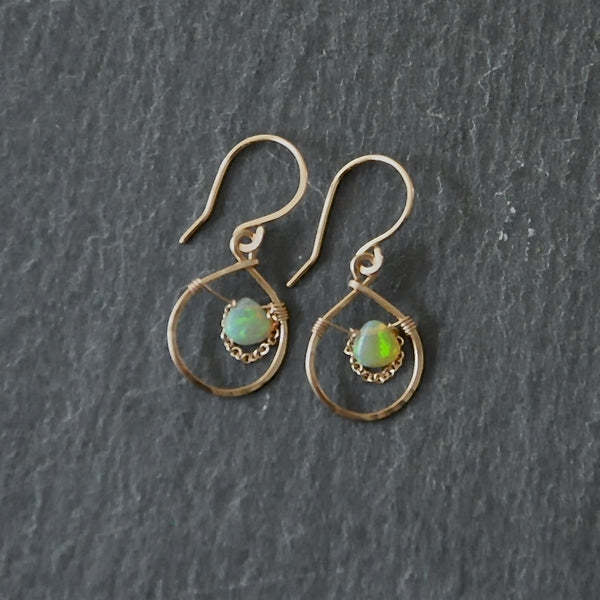 wire wrapped opal earrings with chain