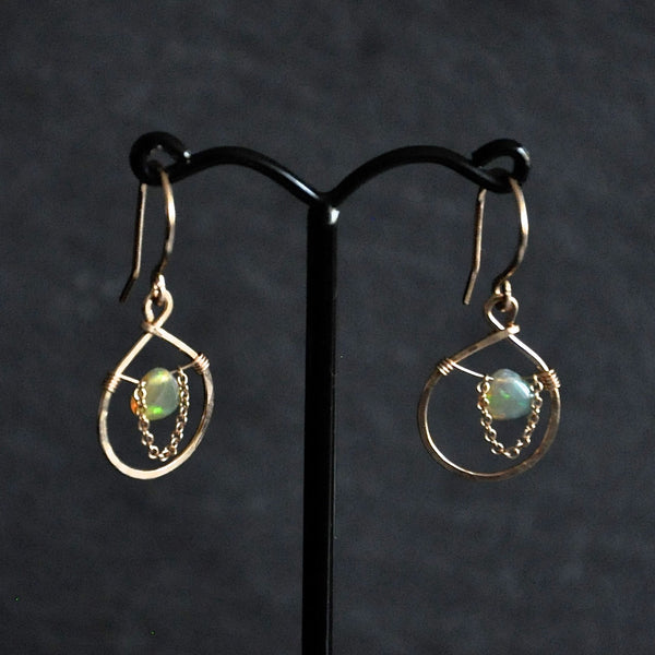 Dew Drop Opal Earrings With Dangly Chain by Izabela Motyl