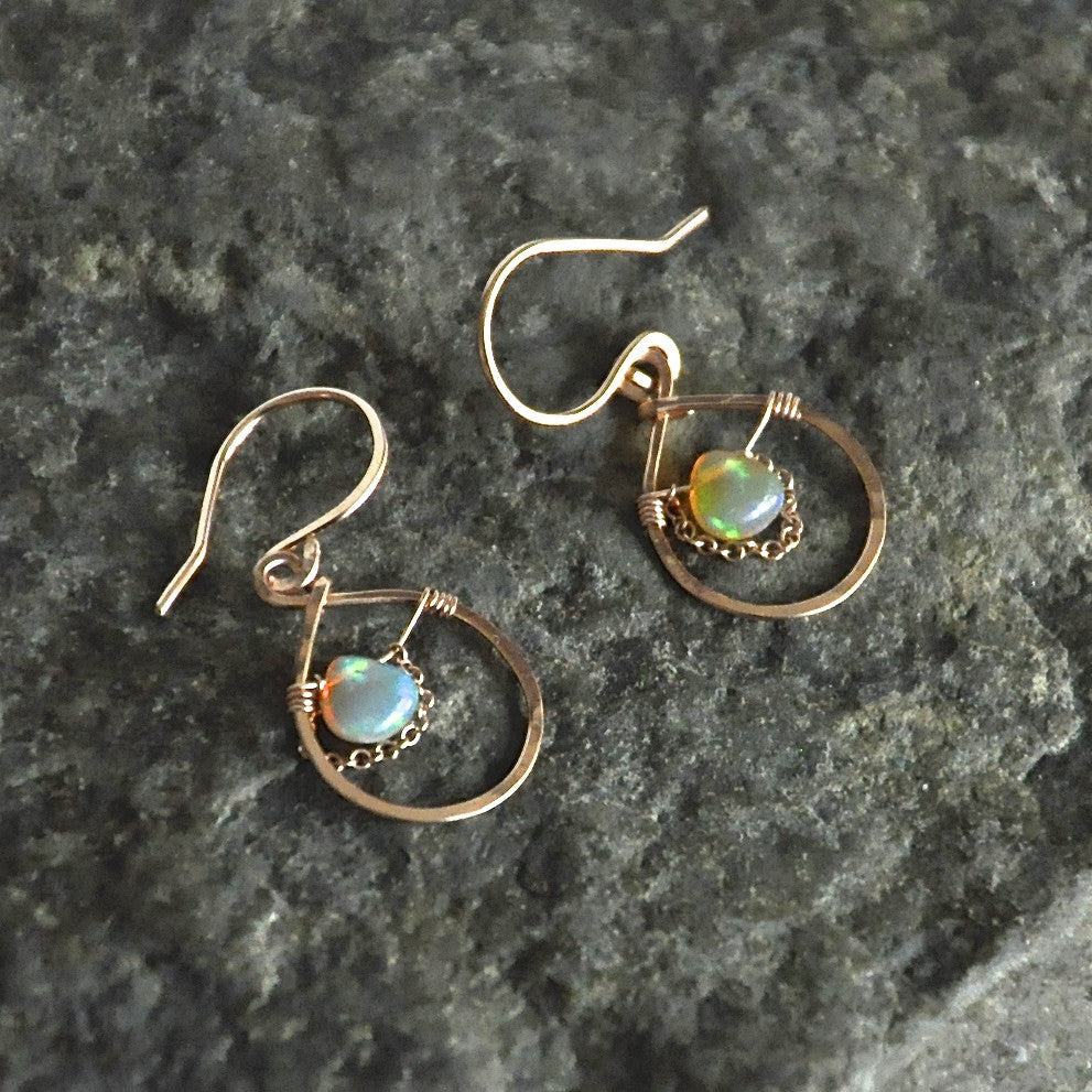 rose gold filled opal earrings with chain