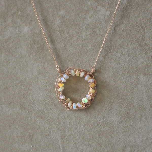 crocheted circle necklace with opal