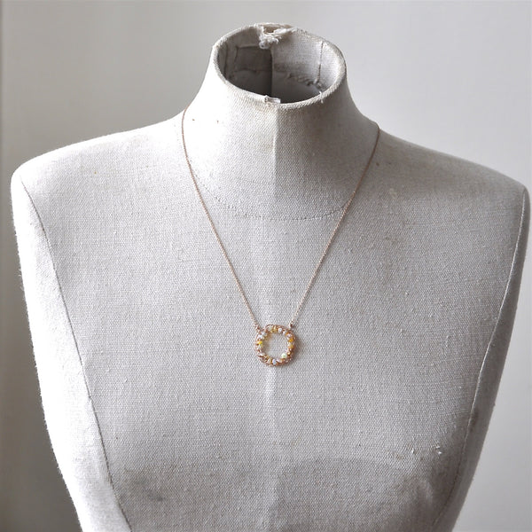 Crochet Circle Necklace With Opal by Izabela Motyl