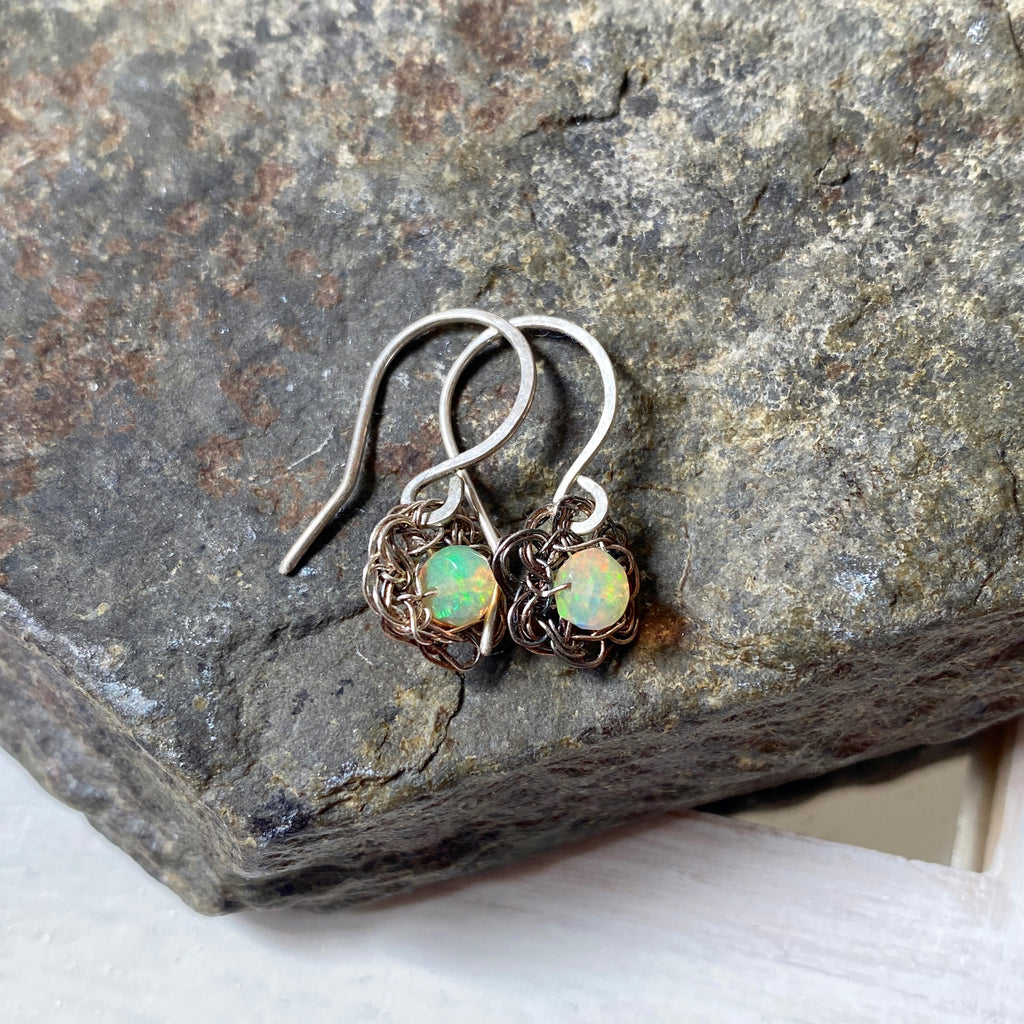 beautiful small flower earrings with opal