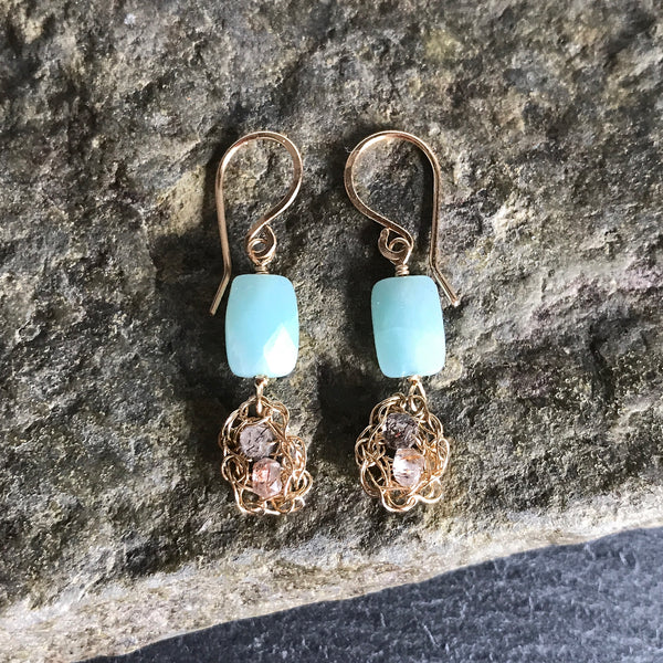Crochet Drop Earrings With Amazonite by Izabela Motyl