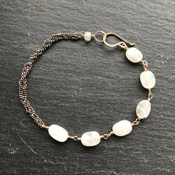 Crochet Bracelet With Moonstone by Izabela Motyl