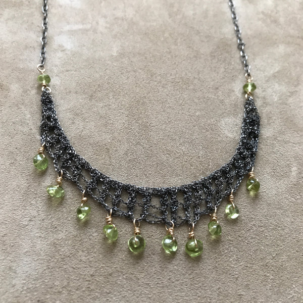 Peridot Crochet Necklace by Izabela Motyl