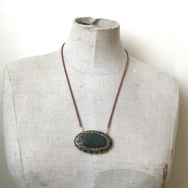bloodstone pendant necklace with tiny emeralds