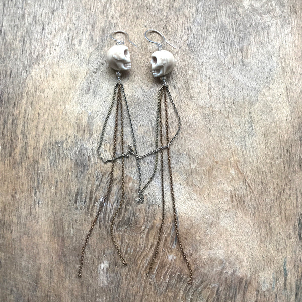 Ceramic Skull Tassel Earrings by Izabela Motyl