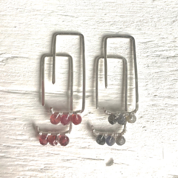 Rectangular Peg Earrings Adorned by Izabela Motyl
