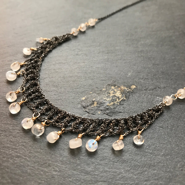 crochet mesh moonstone necklace