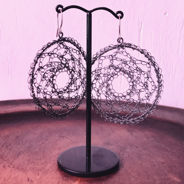 Large crocheted oxidised silver earrings by Izabela Motyl