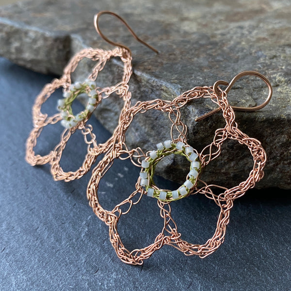 Rose Gold Filled Flower Earrings