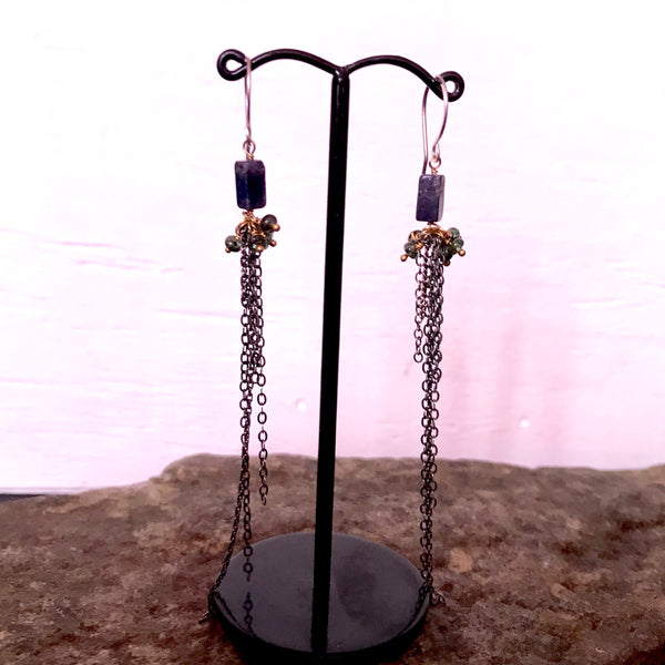 Harlequin Earrings with Lapis and Emerald by Izabela Motyl